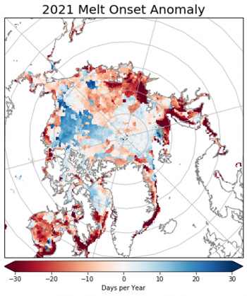 Figure 3. This map shows the date of sea ice melt in the Arctic for the 2021 melt season. Shades in red depict up to 30 days earlier melt, while shades in blue depict up to 30 days later melt of sea ice. ||Credit: ?|High-resolution image