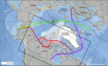 Figure 4. This image shows potential navigational routes through the Arctic from Mudryk et al., 2021. ||Credit: Mudryk et al., 2021. | High-resolution image