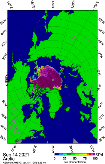 Figure 1b. This map shows Arctic sea ice concentration based on data from the Advanced Microwave Scanning Radiometer 2 (AMSR2) data as of September 14, 2021. Yellows indicate sea ice concentration of 75 percent, dark purples indicate sea ice concentration of 100 percent. ||Credit: University of Bremen|High-resolution image