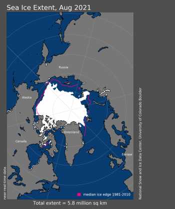 Figure 1c. Arctic sea ice extent for August 2021 was 5.75 million square kilometers (2.22 million square miles). The magenta line shows the 1981 to 2010 average extent for that month. Sea Ice Index data. About the data||Credit: National Snow and Ice Data Center|High-resolution image