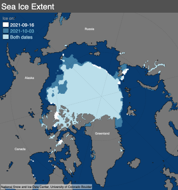 The map above compares the 2012 Arctic sea ice minimum, reached on September 17, with the 2020 Arctic sea ice minimum, reached on September 15. Light blue shading indicates the region where ice occurred in both 2012 and 2020, while white and medium blue areas show ice cover unique to 2012 and to 2020, respectively. Sea Ice Index data. About the data Credit: National Snow and Ice Data Center High-resolution image
