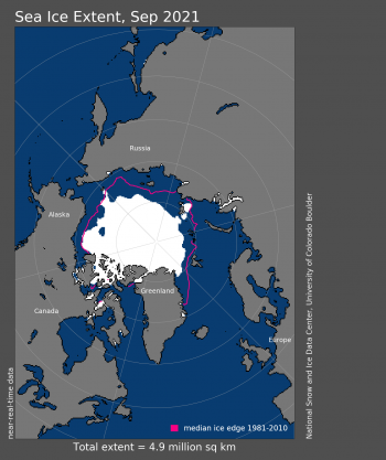Figure 1. Arctic sea ice extent for September 2021