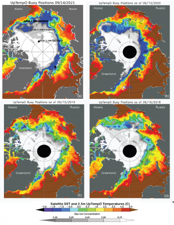 Figure 7. Sea surface temperatures in mid-September for (a) 2021, (b) 2020, (c) 2019, (d) 2018. SST data from NOAA. Circles indicate buoy data points with SST or sea ice concentration. From UpTempO.