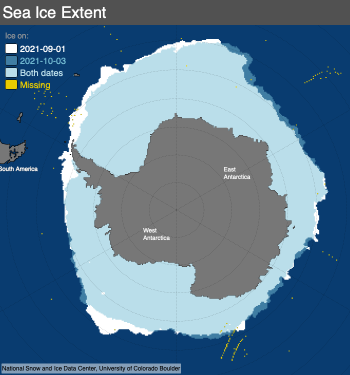 Figure 4b. This map compares Antarctic sea ice extent for September 1, 2021, with October 3, 2021. Light blue