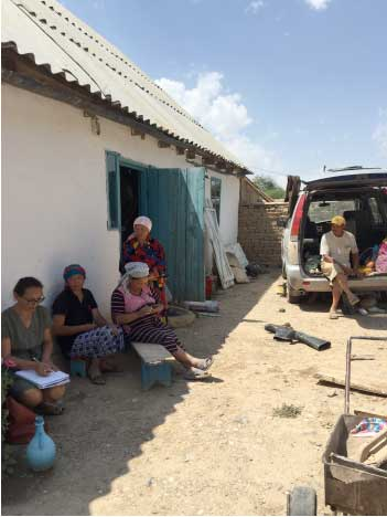 Cholpon Minbaeva (left) meeting with (left to right) Erkin, Gulnara, a third unidentified woman and Joldoshbek at Jylan Aryk/Sary Oi, Naryn region, 2018. Credit: Musa Minbaev