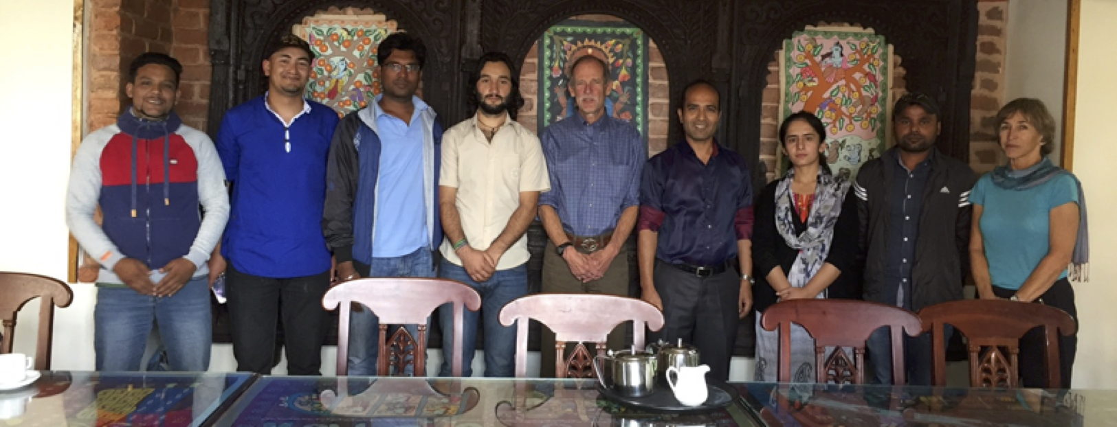 Left to right: Amrit Thapa, Nepal; Rakesh Kayastha, Research Associate, Nepal; Niraj Kumar, India; Javed Hassan, Pakistan; Richard Armstrong, Rijan Kayastha, Ms. Iram Bano, Pakistan; Ramesh Kumar, India; Betsy Armstrong