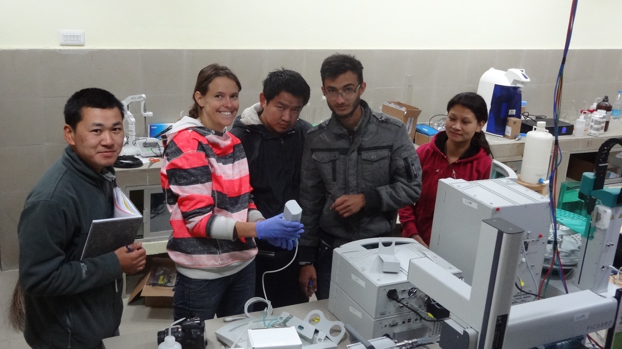 Setting up the lab. From left: Tshewang Dendup, Holly A. Miller, Dendup Tshering, Punya Prasad Bhandari, Jigme Wangmo