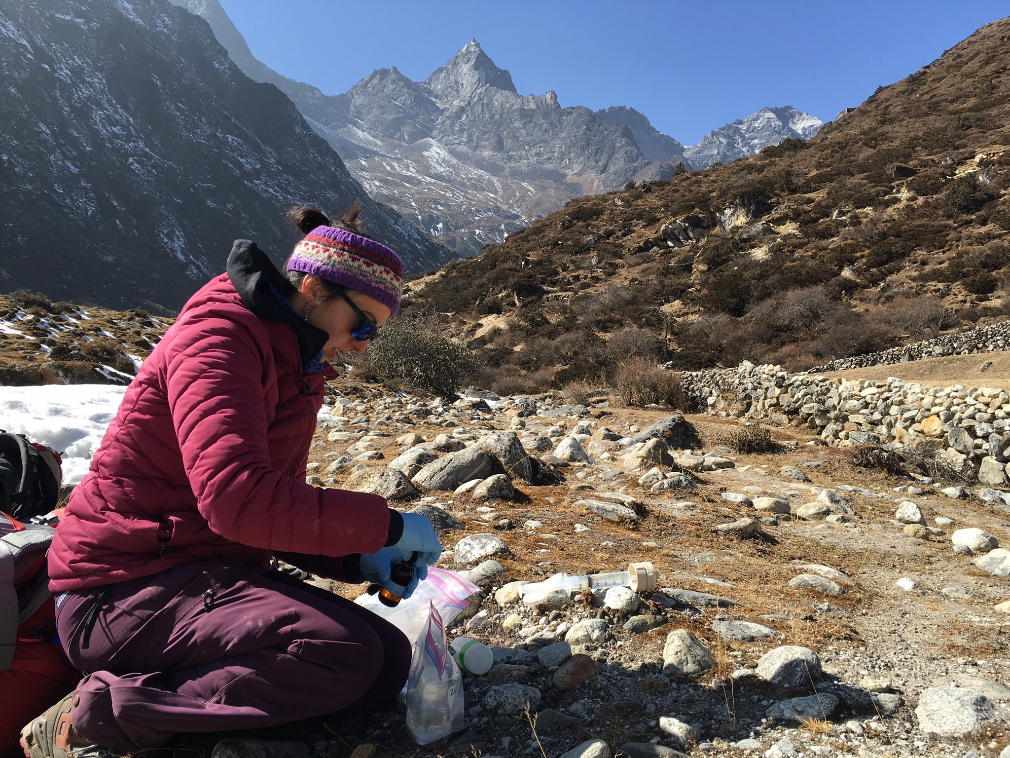 Sampling water in the Gokyo Valley.