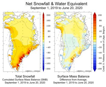 Figure 4. The left map shows total net snowfall and rainfall, minus runoff or evaporation, which is the Surface Mass Balance (SMB) for the Greenland Ice Sheet, from September 1, 2019, through June 20, 2020. The right map shows the difference from average net snowfall for the same period. Numbers are shown in centimeters (0.4 inches) of water equivalent. ||Credit: X. Fettweis, Université of Liège, Belgium |High-resolution image