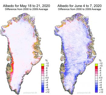 Figure 5. These maps show NASA MODIS-derived albedo, or reflectivity, for the Greenland Ice Sheet in mid-May (left) and early June (right) after a snowfall event as compared to the same period in 2000 to 2009. ||Credit: NASA|High-resolution image