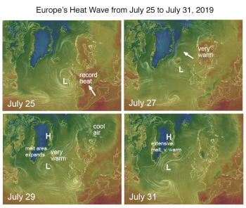 Evolution of heat wave from Europe to Arctic
