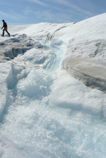 Figure 5: This photograph of melt runoff was taken near Kangerlussuaq, Greenland the week of June 17.