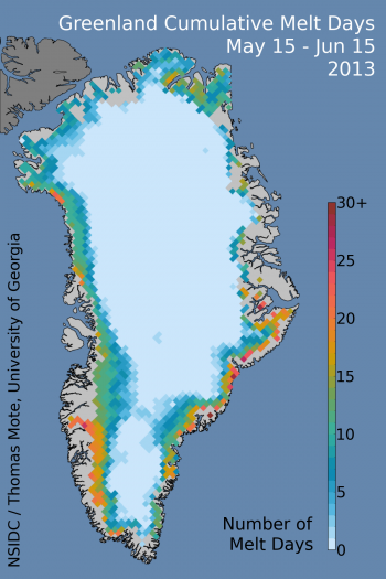 Cumulative melt days for mid-May to mid-June in Greenland using the Mote method of determination of melt from satellite microwave data. Note that the color scale is 0 to 30 days, rather than 0 to 120 days for the daily figure. Lower figure shows the percent of the Greenland ice sheet that had some surface melting for each day of 2013 up to June 19th.