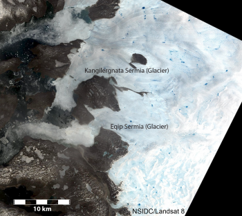 Figure 4. True-color Landsat 8 image of west-central Greenland near 69.9deg N, 51.0 deg W acquired on June 12 (just north of Jakobshavn Isbrae, Landsat acquisition location Path 11, Row 11). The image shows glaciers, coastal bedrock and nunataks, and several small fjords. White areas on the right side of the scene are winter snow (still melting away); light blue and grey areas are exposed ice where the 2012-2013 winter snow has melted away; deeper blue pockets are small incipient melt lakes.