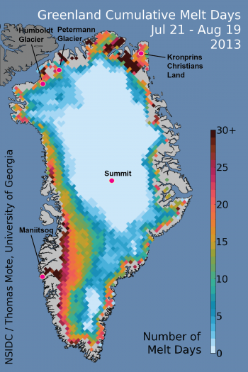 Figure 1. Cumulative Greenland melt days image for 21 July – 19 August (30 days). This period spans the peak melt extents seen this year.