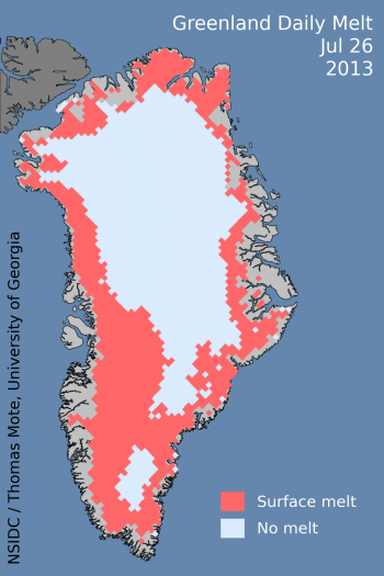 Figure2a: Greenland melt extent data comparison for 2012 and 2013 to date. Two peak extent days are noted. Figure 2b:Melt extent map for the peak melt extent day to date this year, July 26.