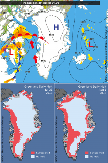 Figure 3: Weather pattern map for Greenland and northeastern Canada, July 30, 2013 (top) and melt area map for July 31 (below left) and August 1 (below right). Strong southeasterly winds across the western coast brought very warm conditions to that region. The weather graphic was produced by Gorm Larsen for the Danish Meteorological Institute. See: http://www.dmi.dk/nyheder/arkiv/nyheder-2013/8/groenland-saetter-temperaturrekord/. Note that the question of a record warmest temperature for Greenland is still being resolved.
