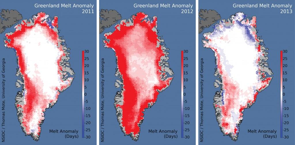 Greenland melt anomaly images