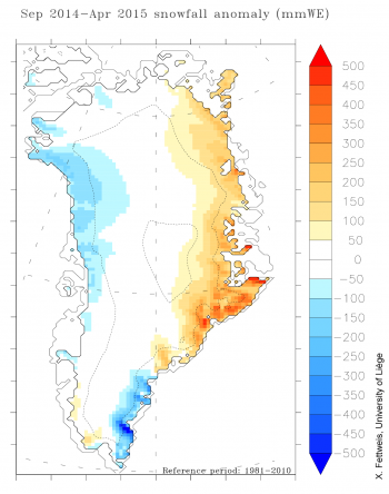 Figure 3. The plot shows snowfall anomaly for Greenland (in millimeters of water equivalent) for the winter season of 2014 to 2015. The majority of the eastern coast saw considerably more snowfall than the 1981 to 2010 average. Data are from the NCEP-NCARv1 reanalysis forced model (climate model run using measured weather values as forcing).||Credit: Credit: X. Fettweis, University of Liège|  High-resolution image