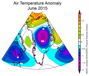 air temperature anomaly plot