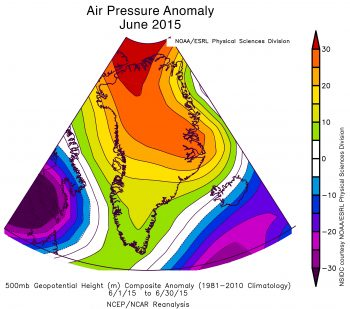 sea level pressure anomaly plot