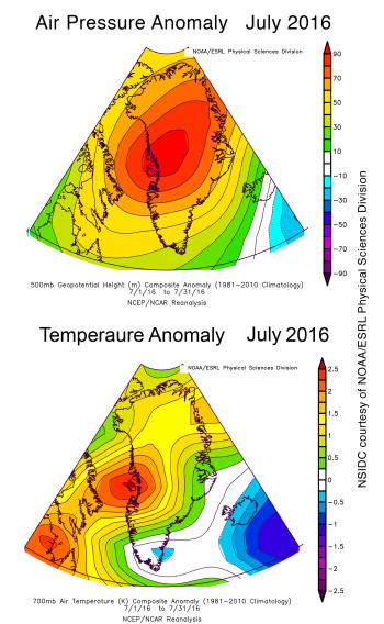 Figure 3a. A plot of pressure anomaly. Figure 3b. A plot of temperature anomaly.