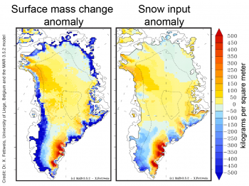 maps showing surface melt change and snow and rain input