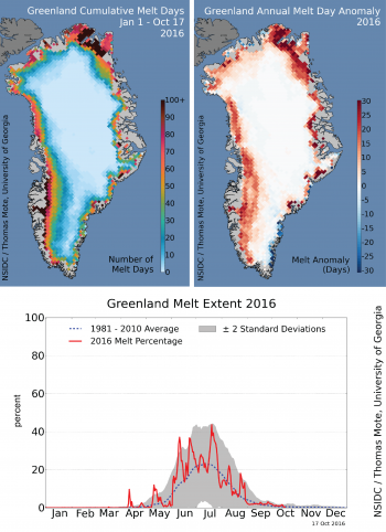 map of cumulative melt days