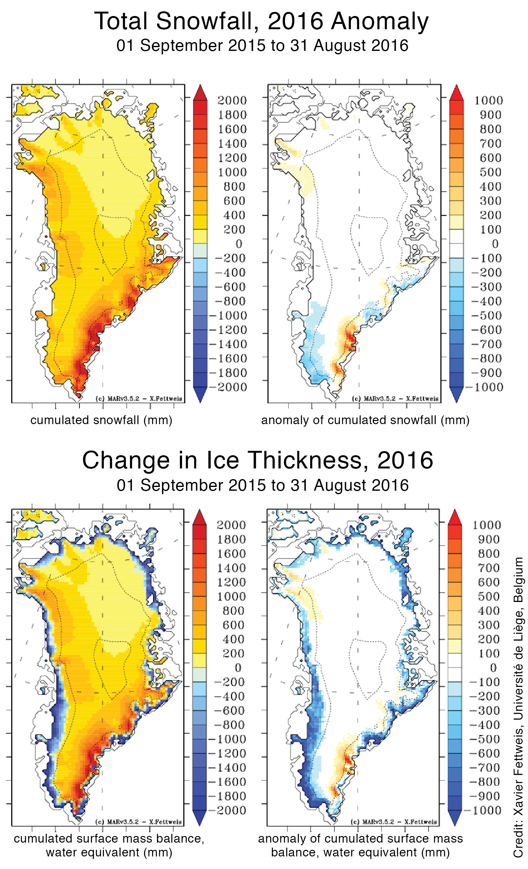 the top left map shows cumulated snowfall water equivalent in millimeters while the right shows anomaly of snowfall for greenland from 2015 to 2016