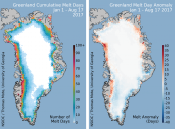 The map on the top left shows the cumulative melt days for the 2017 melt season through August 17, 2017; and the map on the top right shows the departure from average for melt days relative to the 1981 to 2010 average for the same period.
