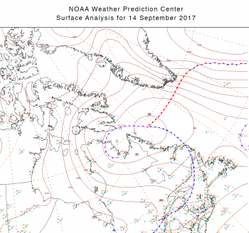 Figure 5. NOAA Weather Prediction Center surface analysis at 0900 Greenwich Mean Time (GMT)/Coordinated Universal Time (UTC) on Thursday, 14 September 2017. Low pressure system located off the coast of Newfoundland with warm front approaching southern Greenland.