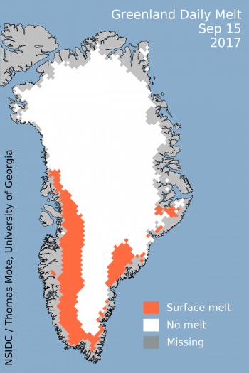 Figure 1. This map shows the 15 September 2017 melt day for the Greenland ice sheet relative to the 1981 to 2010 average for the same period.