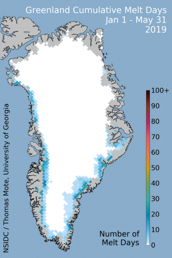 Figure 1. The number of melt days in 201X on the Greenland Ice Sheet exceeded XXX for low elevation areas along the southwestern coast, and values above XXXdays were seen in the far north and southeastern coastal areas. Data are from the MEaSUREs Greenland Surface Melt Daily 25km EASE-Grid 2.0 data set. . About the data||Credit: National Snow and Ice Data Center/Thomas Mote, University of Georgia|High-resolution image