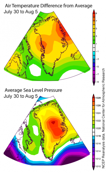 Figure 2a. Top, Average air temperature difference from the 1981-2010 average at the 700 hPa level, or about 10,000 feet above sea level, for 30 July – 03 August, 2019. Bottom, average sea level pressure (estimated over land areas) for the same period. (NCEP Reanalysis data, National Center for Atmospheric Research)