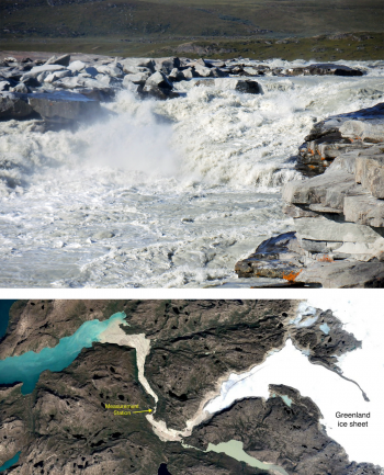 Figure 7. Top, runoff from the ice sheet near the Greenland capital of Nuuk. The bottom image shows the location of the monitoring station.