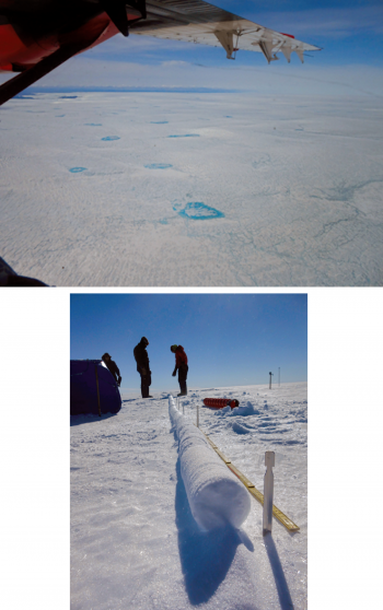 Top, melt ponds in southwestern greenland; bottom, an ice core shows an increased density of Greenland's snow