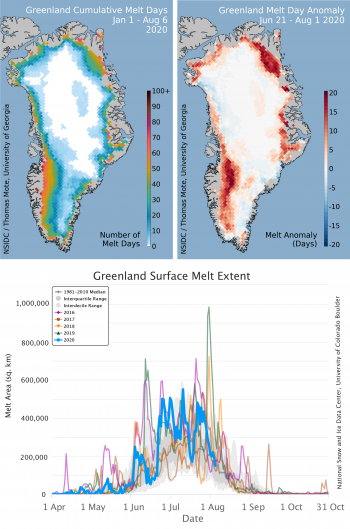 Figure 1. The top left map of the Greenland Ice Sheet shows the total number of surface melt days from June 21 through August 1, 2020. The top right map shows the difference between total 2020 melt days and the number of 1981 to 2010 average melt days for the same period. The lower graph shows daily area in square kilometers of surface melting from June 21 to August 1, 2020, with daily melt extent trends for the preceding four years, including 2012, the record year for total melt area. ||Credit: National Snow and Ice Data Center/T. Mote, University of Georgia|High-resolution image