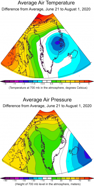 Figure 2. The top plot shows air temperature as a difference from average, relative to 1981 to 2010, for the period of June 21 through August 1, 2020, in degrees Celsius. The bottom plot shows air pressure difference from average, relative to 1981 to 2010. This is shown as the height difference from average of the 700 mb pressure level (about 10,000 feet), in meters. ||Credit: National Centers for Environmental Prediction (NCEP) Reanalysis data, National Center for Atmospheric Research|High-resolution image