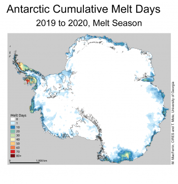Antarctic Cumulative Melt Days, 2019 to 2020 Melt Season