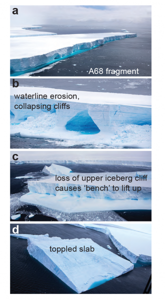 Figure 5. Images from a UK Royal Air Force overflight on 05 December 2020 of several of the large fragments of iceberg A68. Image credit, Corporal Philip Dye, RAF Photographer, British Forces South Atlantic Islands. |High-resolution image