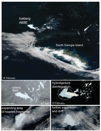 Figure 6. Image series showing hydrofracture disintegration of iceberg A68E. The berg was located about 100 km northwest of South Georgia Island. Break-up progressed rapidly on 15 February, and the iceberg was rendered into small fragments by 18 February. Credit: NASA | High-resolution image