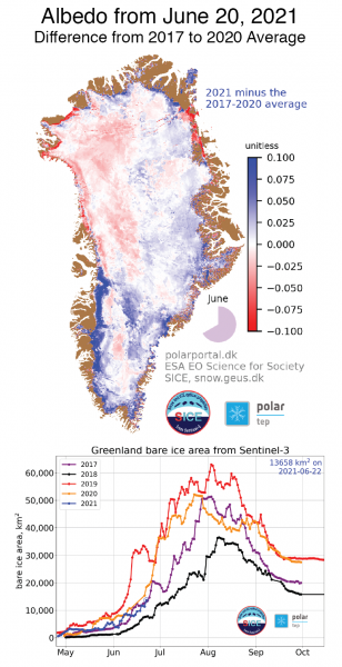 Figure 5. The map shows albedo, or reflectivity, for the Greenland Ice Sheet on June 20, 2021, compared to the 2017 to 2020 average.