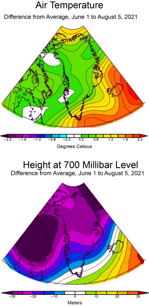 Figure 2a. The top plot shows air temperature as a difference from average, relative to 1981 to 2010, for the period of May 1 through June 20, 2021, in degrees Celsius. The bottom plot shows height difference from average in meters for the 700 millibar pressure level in the atmosphere for the same period. ||Credit: National Centers for Environmental Prediction (NCEP) Reanalysis data, National Center for Atmospheric Research| High-resolution image