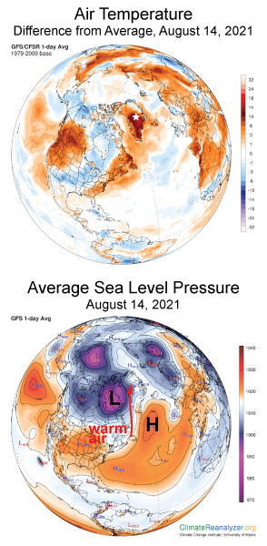 Figure 2a. The top plot shows 2-meter air temperature for August 14, as a departure from the 1979-2000 reference period for the Arctic and surrounding regions. The plot indicates the warm conditions in southwestern Greenland extending to the Summit region. The bottom plot shows average sea level pressure for the same day. Air circulation between the low pressure center over Baffin Island and the high pressure center off the southern tip of Greenland drove air and moisture rapidly northward. The white star marks the location of Summit Station in both maps. ||Credit: ClimateReanalyzer.org, Climate Change Institute, University of Maine |High-resolution image