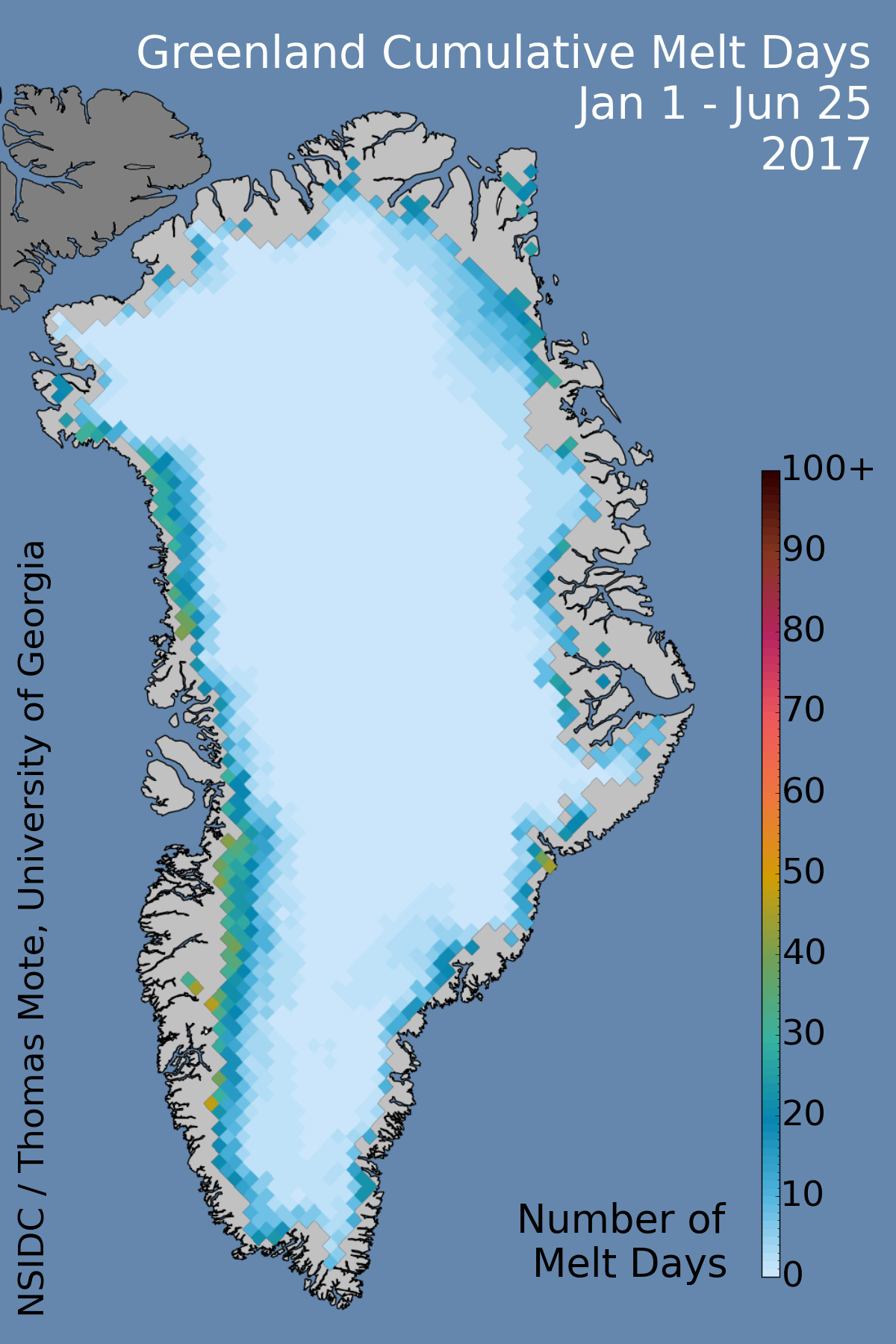 Grönland kumulativa Melt dagar per dag