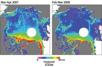 Two maps side-by-side of sea ice freeboard