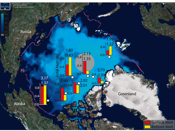Sea ice from space overlaid with information concerning ice thickness