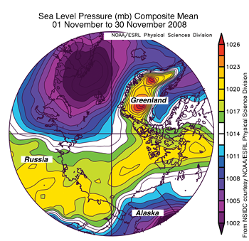 Map showing arctic sea level pressure anomolies in bright colors