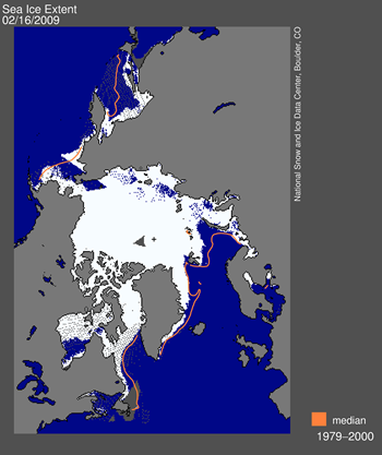 Daily Arctic sea ice extent map for February 15, 2009, showed areas of open water which should have appeared as sea ice. Sea Ice Index data. —Credit: National Snow and Ice Data Center