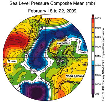 map showing arctic with sea level pressure in bright colors